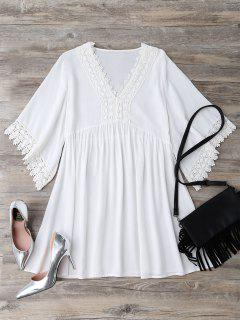 Casual Lace Trim Straight Dress - White S