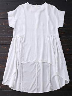 High Low Skirted Flowy Top - White Xl