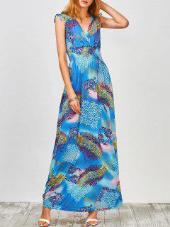 Plonger Sans Manche Imprimé Maxi Dress - Bleu Léger  M