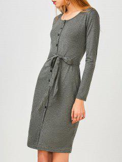 Long Sleeve Button Up Slit Sheath Dress - Deep Gray M
