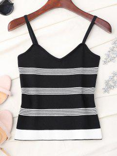 Striped Slip Knitted Tank Top - Black