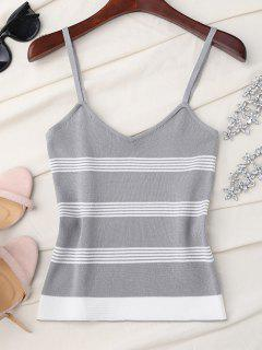 Striped Slip Knitted Tank Top - Gray