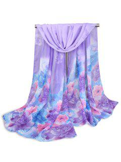 Multicolor Peony Painted Printed Shawl Scarf - Purple