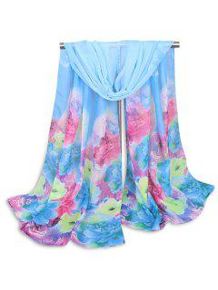 Multicolor Peony Painted Printed Shawl Scarf - Blue