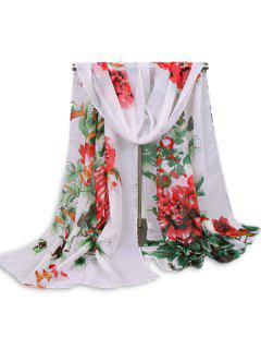 Chinoiserie Flowers Wash Painting Shawl Scarf - Red Stripe