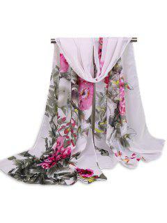 Chinoiserie Flores Lavado Bufanda Chal De Pintura - Gris Blanco