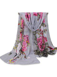 Chinoiserie Flowers Wash Painting Shawl Scarf - Gray