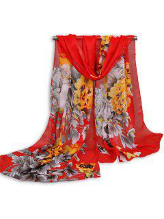 Chinoiserie Flowers Wash Painting Shawl Scarf - Bright Red
