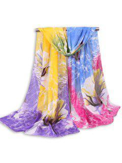 Multicolor Nubes Floral Printed Chiffon Bufanda - Amarillo