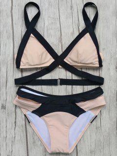 Patchwork Bandage Bikini Set - Pink L