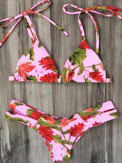 Flower Print Spaghetti Straps Bikini Set - Pink S