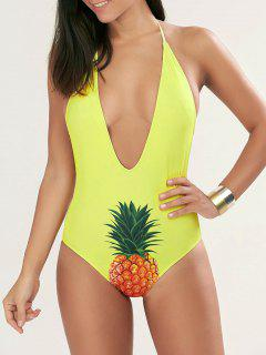 Halter Pineapple Plunge One Piece Swimsuit - Yellow L