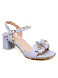 Block Heels Flowers Sandals - Light Blue 39