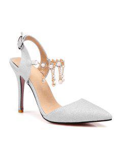 Slingback Glitter Pumps - Silver 39