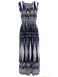 Geometrical Print Sleeveless Elastic Waist Midi Dress - Purplish Blue