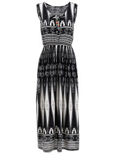 Geometrical Print Sleeveless Elastic Waist Midi Dress - Black