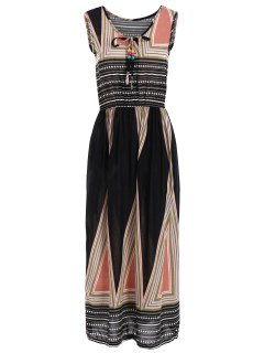 Triangle Print Sleeveless Elastic Waist Midi Dress - Black