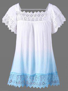 Lace Crochet Panel Ombre Böhmische Bluse - Weiß Xl