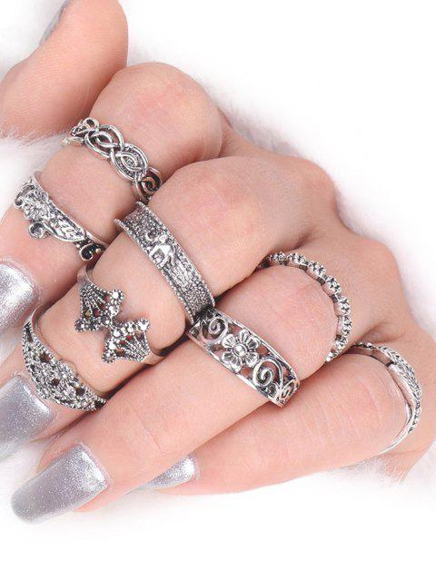 shop Flower Elephant Leaf Alloy Ring Set -   Mobile