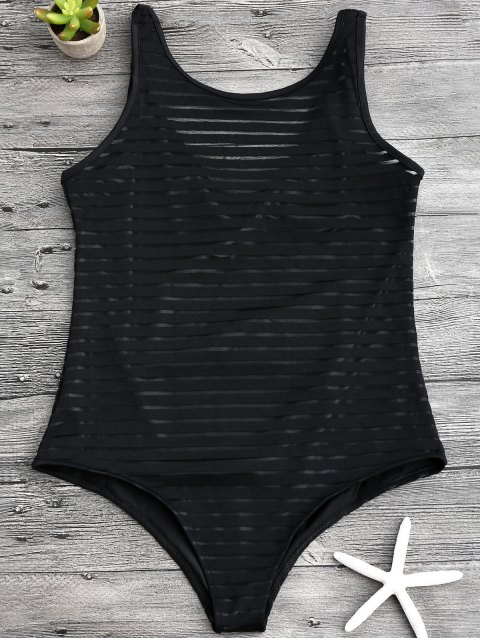 trendy Sheer Stripe Slimming One Piece Swimsuit - BLACK L Mobile