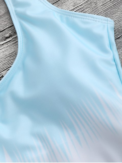 affordable High Cut Open Back One Piece Swimsuit - LIGHT BLUE S Mobile