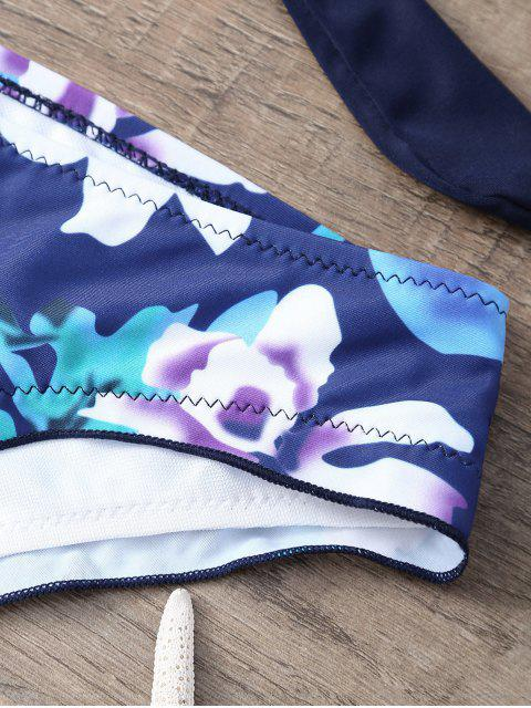 fashion Floral Print Halter Wrap Bikini Set - PURPLISH BLUE XL Mobile