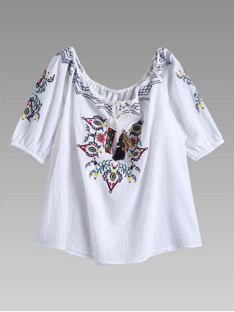 womens Off Shoulder Drawstring Neck Embroidered Linen Top - WHITE S Mobile