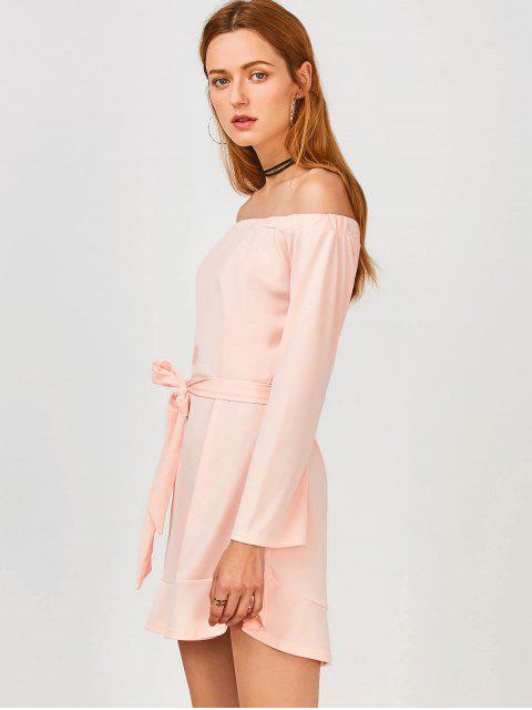 unique Off Shoulder Ruffle Hem Long Sleeve Dress - LIGHT PINK S Mobile