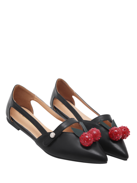 outfits Hollow Out Cherry Faux Leather Flat Shoes - BLACK 38 Mobile