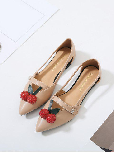 shops Hollow Out Cherry Faux Leather Flat Shoes - APRICOT 37 Mobile