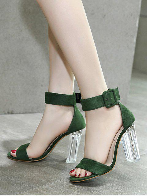 fashion Flock Ankle Strap Crystal Heel Sandals - GREEN 37 Mobile