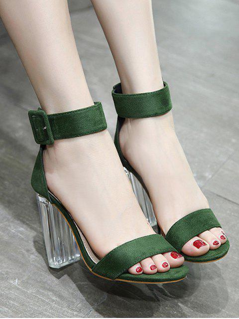chic Flock Ankle Strap Crystal Heel Sandals - GREEN 38 Mobile