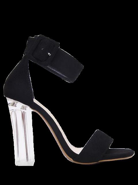 sale Flock Ankle Strap Crystal Heel Sandals - BLACK 38 Mobile