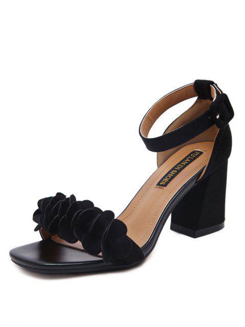 buy Block Heel Ankle Strap Flowers Sandals - BLACK 37 Mobile