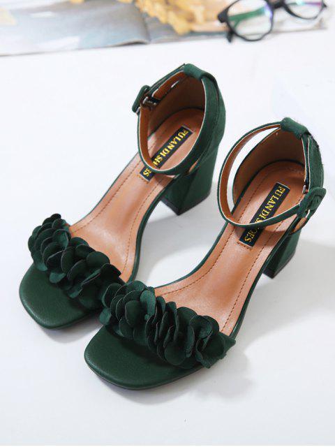 women Block Heel Ankle Strap Flowers Sandals - BLACKISH GREEN 39 Mobile
