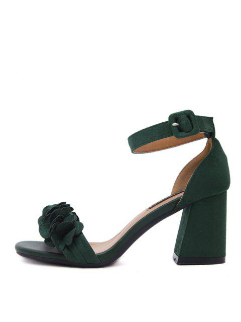 ladies Block Heel Ankle Strap Flowers Sandals - BLACKISH GREEN 38 Mobile