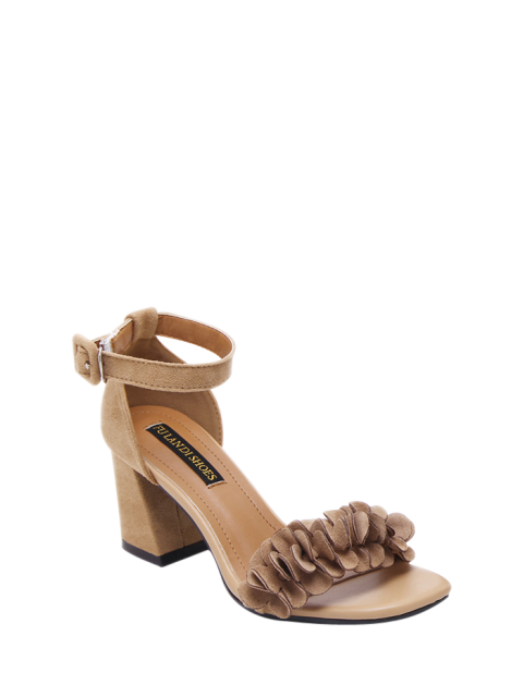 online Block Heel Ankle Strap Flowers Sandals - KHAKI 38 Mobile
