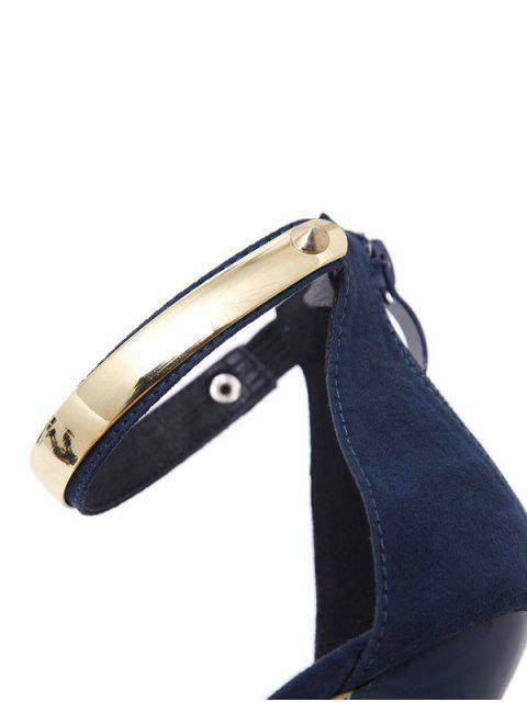 new Platform Zipper Metal Rivets Sandals - CADETBLUE 39 Mobile