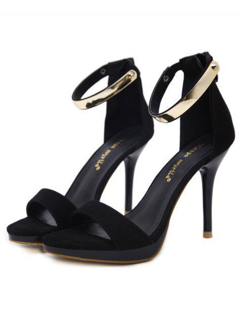 shops Platform Zipper Metal Rivets Sandals - BLACK 38 Mobile