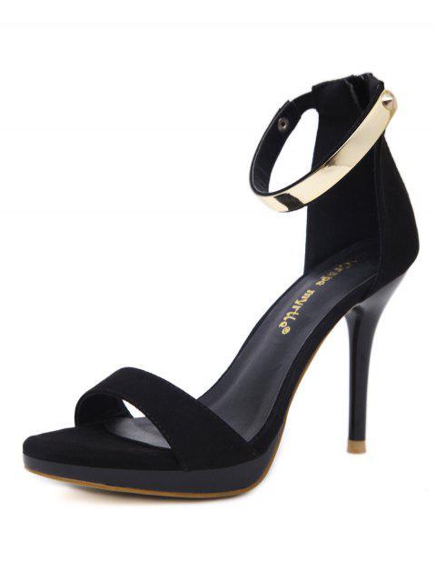 Sandales à plateforme zippées avec rivets métalliques - Noir 38 Mobile
