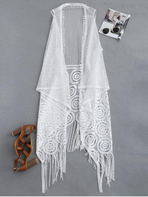 trendy Fringed Open Front Beach Cover Up - WHITE ONE SIZE Mobile