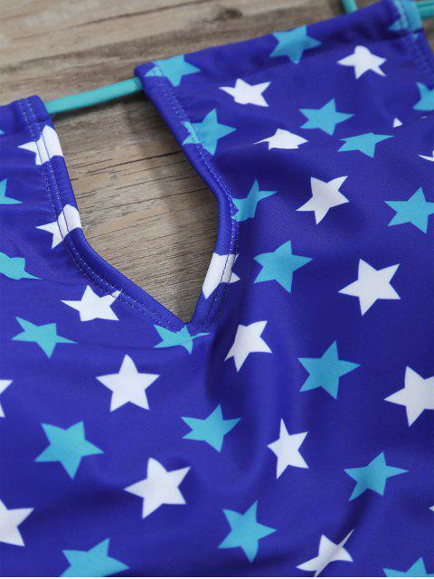 chic High Waisted Pentagram Print Keyhole Tankini Set - BLUE L Mobile
