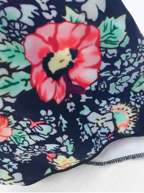 trendy Tiny Floral Print Strapless Padded Bikini Set - PINK L Mobile