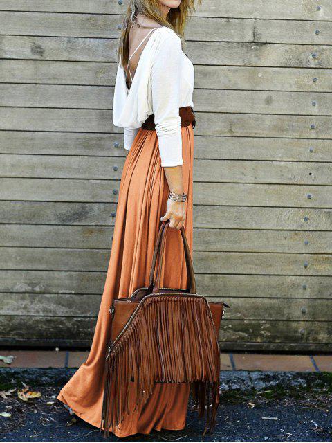 shops Spliced Back Criss-Cross Maxi Dress - ORANGE S Mobile