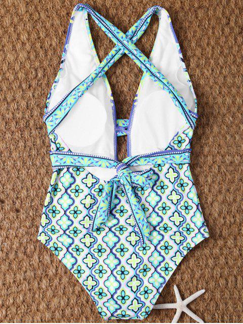 womens Plunge Neck Printed Criss-Cross Swimwear - MULTICOLOR L Mobile