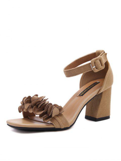 best Block Heel Ankle Strap Flowers Sandals - KHAKI 37 Mobile