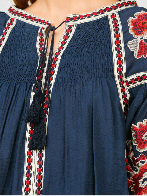 sale Oversized Floral Embroidered Smock Dress - PURPLISH BLUE S Mobile