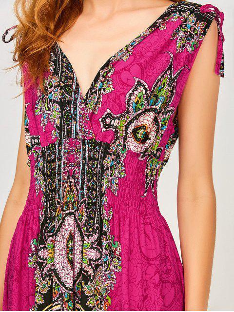 latest Maxi Print Plunge Bohemian Dress - SANGRIA M Mobile