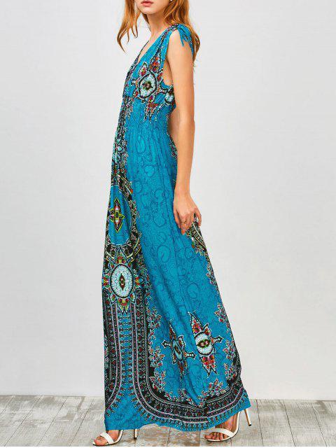 fancy Maxi Print Plunge Bohemian Dress - PEACOCK BLUE S Mobile