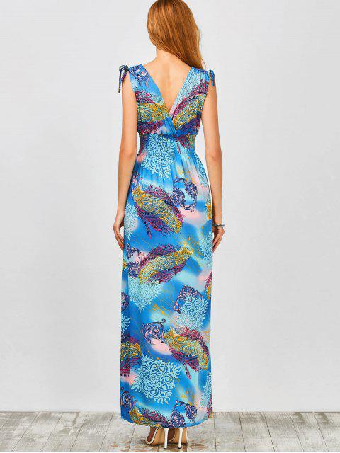 hot Plunge Sleeveless Printed Holiday Maxi Dress - LIGHT BLUE L Mobile